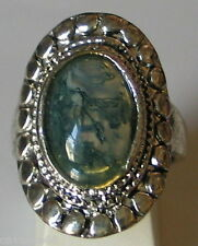 ANCIEN BIJOU BAGUE agate vert métal vieilli argenté ring b147