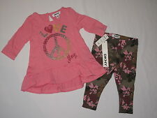 NWT DKNY 2pc set 3/4 sleeve shirt GIRL size 12M pink