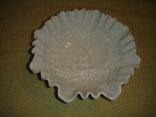 Vintage Ruffled Milk Glass Bowl W/Windmill Pattern Center-Holland Dutch Design
