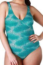 maillot de bain 1 pièce léopard bleu/vert taille 50/52 - neuf