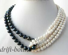 4Strands 18'' Round 6mm White 8mm Black Freshwater Pearl Necklace