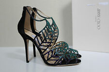 sz 9.5 / 39.5 Jimmy Choo Kallai Blue Bottle Crystal Embellish Ankle Sandal Shoes