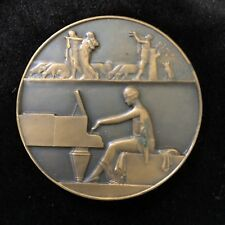 Claude Leon Mascaux Man Playing Piano Bronze Medal French Sculptor