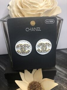Medium Round Size Logo White color stud earrings