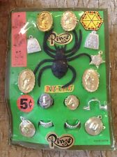old Vending Display Charm Creepy Rubber Jiggler Spider Western Cowboy Cameo Hat