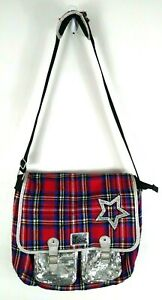 Justice Messenger Satchel Bag Crossbody Plaid Silver Glitter Multi Pocket