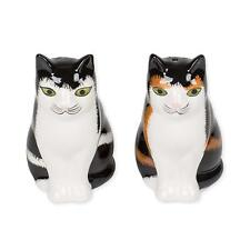 """Calico American Shorthair Cats 3"""" Glazed Ceramic Salt and Pepper Shakers 2 Piece"""