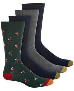 Gold Toe Mens Dress Socks Green One Size Santa Golfer 4 Pair Solid $22 #251