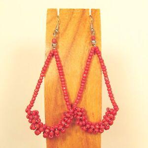 """2 1/2"""" Long  Red Color Teardrop Hoop Handmade Seed Bead Dangle Earring"""