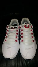 Used New Nike Men's Shox NZ Leather Shoes White/Red # 378341-110 Size 11.5