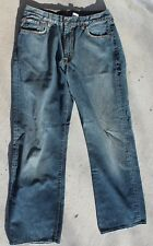 LUCKY BRAND VINTAGE BOOT LEG DISTRESSED ZIPPER FLY BLUE JEANS-TAG SIZE 32