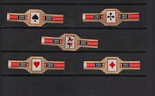 Série complète de 5 Bagues de Cigare Label  Princeps As et Joker