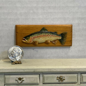 Vintage Artisan Mounted Colorful Fish Aged Wood Plaque Dollhouse Miniature 1:12