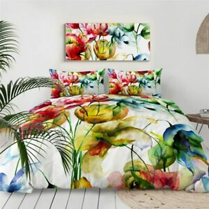 Abstract Art Tulip Floral Red King Queen Twin Quilt Duvet Pillow Cover Bed Set