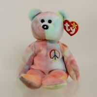 TY Beanie Baby - PEACE the Ty-Dyed Bear (Pink/Blue) (8.5 inch) *MWMT*