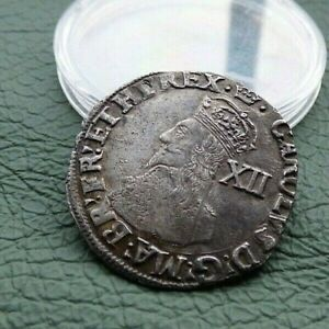 Lovely portrait England Charles I silver hammered shilling  coin pre civil war