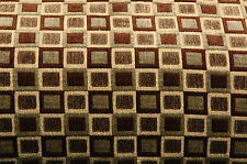 CONTEMPORARY CHENILLE GREEN BROWN SQUARES  FABRIC 3 YDS