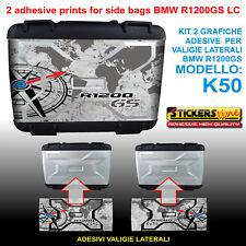 2 adesivi borse LATERALI valigie BMW R1200GS LC bussola planisfero dal 2013 K50