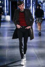 NWT SAINT LAURENT Paris Striped 100% WOOL Knit Crewneck Sweater S