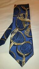 Royale Men's Tie in Blue and Gold Abstract Pattern