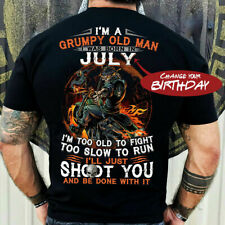 I'm A Grumpy Old man I Was Born In (Change Your Birthday) Skeleton Biker T-Shirt