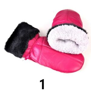 Women Leather PU Gloves Mittens Fleece Lined Warm Riding Ski Windproof Winter