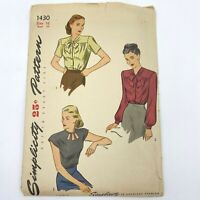 Vintage 1945 Simplicity Sewing Pattern 1430 Blouse 3 Ways Pussy Bow UNUSED PT