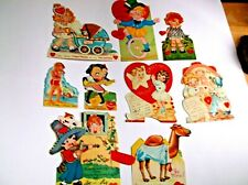 Vintage Valentine Lot of 9 Mechanical From a Scrapbook Used Collect or Crafting