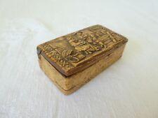 Ancienne tabatiere Alsacienne ou bretonne en bois sculpter XIX eme