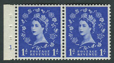 SB.28 1958 1d Ultramarine, Booklet pair with selvedge Cyl 1, Unmounted mint