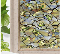 Leaves Olive Translucent Window Film Sticker Print Cling Stained Glass UV Block