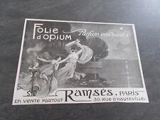 Publicité papier Parfum. Perfume ad Folie d'Opium de RAMSES 1919 France