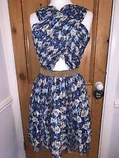 Blue Floral VIRGOS LOUNGE Tea Vintage Prom Dress Gold Bead Embellish Wrap 12