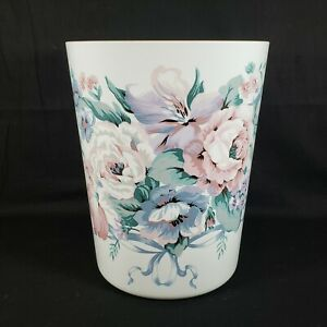 Vtg Bathroom Trash Can Wastebasket Shabby Cottage Pink Blue White Flowers Ribbon