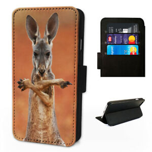 Kangaroo Fighting Australia - Flip Phone Case Wallet Cover Fits Iphone & Samsung