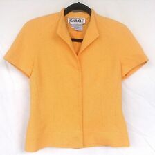Carlisle 2 Yellow/Orange Woven Fabric Short Sleeve Skirt Suit Snap Front CLEAN!
