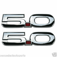 OEM NEW 2015 Mustang GT 5.0 Chrome Clad Emblems, Self Adhesive PAIR F-150 302