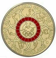 🇦🇺2016 $2 Dollar Coin AUSTRALIAN OLYMPIC TEAM - RED Ring Circle📮FREE Post