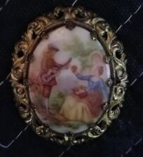 Vintage Western Germany Painted Porcelain Gold Plated Pin Brooch