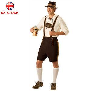Mens Oktoberfest Lederhosen Costume Bavarian Beer Man German Fancy Dress Outfit