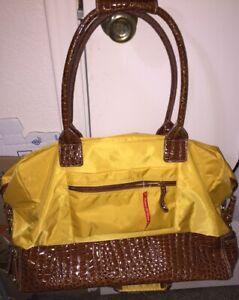 Samantha Musturd /Brown Croco-Embossed Trim Drop Bottom Weekender Bag New