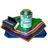 Vinyl Inflatables Repair Kit With 8 Oz HH-66 Glue 18 Oz 9 Patches & Seam Roller