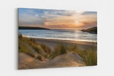 crantock beach sunset view canvas print framed picture wall art Newquay