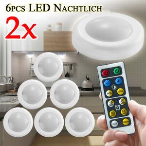 2X 6pcs LED unter Kabinett Nachtlicht Küchenschranklampe Mit Fernbedienung DE