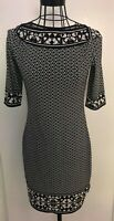 Stunning MAX STUDIO  Black White Patterned Tunic Dress Medium 12 14