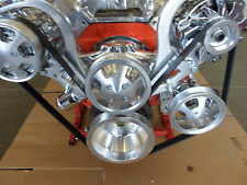 BBC Serpentine Front Runner Pulley Drive Kit Polished/Chrome A/C Alternator P/S