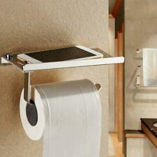 Toilet Roll Paper Holder with Phone Storage Shelf Holders Wall Mounted Rack