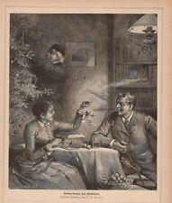 Vorbereitung zum Christabend Weinachtsvorbereitung HOLZSTICH von 1883