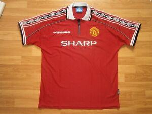 Vintage Manchester United Trikot von Umbro, Nr.19 Yorke (1998-2002), Gr.XL