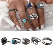 set anillos sortija 5 pcs Vintage Gypsy Boho Elephant Opal Turquoise Midi Rings